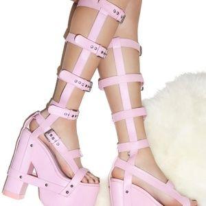 YRU Pink Baby Nightcall HI Platform Heels sz 6